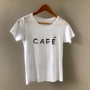 Mimi & August Cafe Yo Unisex White T-Shirt